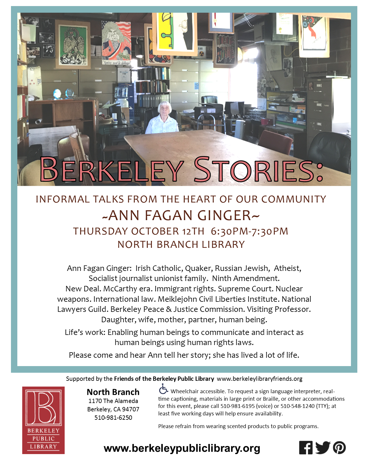 Berkeley Stories: Informal Talks from the Heat of the Community. Ann Fagan Ginger