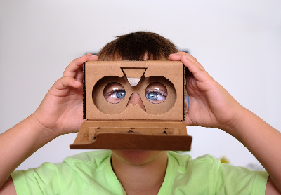 Kid with VR viewer