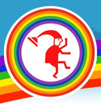graphic emblem of a round rainbow circle with a graphic figure of a dancing clown with a tall floppy hat in the middle