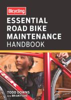 Essential Road Bike Maintenance Handbook cover with woman working on a bicycle