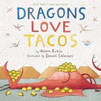 Illustrated dragon lying down with a pile of tacos on his tummy and mouth