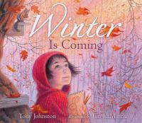 Girl looking at falling leaves on the cover of Winter is Coming