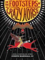 Book cover showing a sun, horse and eagle. the text reads In the Footsteps of Crazy Horse