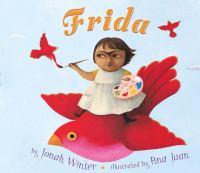 Frida book cover of girl riding red bird