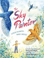 The Sky Painter book cover with yellow and blue birds