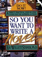 So you want to write a novel Book Cover.