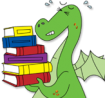 dragon carrying books