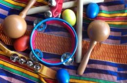 Blanket with musical instruments