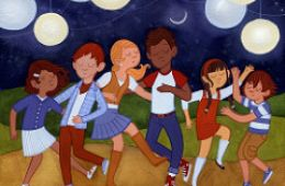 drawing of kids dancing outside under lights; Dancing by Nancy Muller is licensed under CC BY-NC-ND 2.0