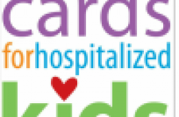"""Illustration of a greeting card that says """"cards for hospitalized kids"""" on the front (organization's logo)"""