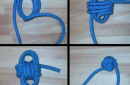 Diagram of how to make a Monkey Fist knot out of blue cord. Image adapted from one by Wikimedia user Chris 73