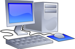 drawing of desktop computer setup with mouse and keyboard.