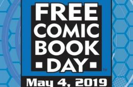 Free Comic Book Day logo on a blue background and the date May 4, 2019