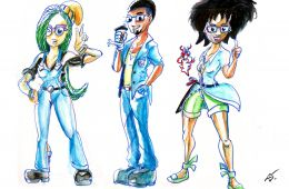 Three characters drawn by Aaron Southerland.