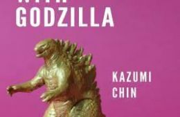 Godzilla plastic toy with purple background with words from title.