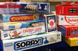 photo of board and card game boxes