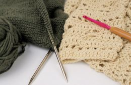 Image of knitting and crochet tools.