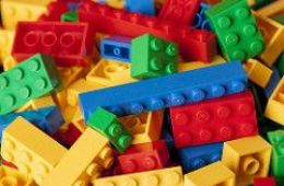 Red, yellow, green and blue Lego bricks