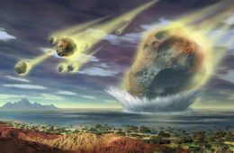 Painting by Lynette Cook of Sudbury Impact, a prehistoric space collision in Canada