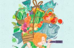 cover of picture book Alice Waters and the Trip to Delicious; written by Jacqueline Briggs Martin, illustrations by Hayelin Choi
