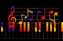 Rainbow colored musical notes.