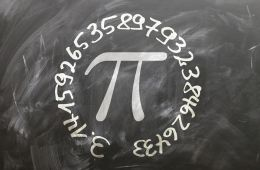 Chalk image of the character pi surrounded by the numbers 3.1415926...