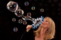 photo of the bubble lady blowing bubbles