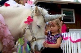 child petting unicorn