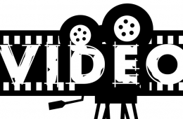 """graphic of the word """"video"""" that looks like a projector and film roll"""