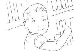 drawing of toddler at the library