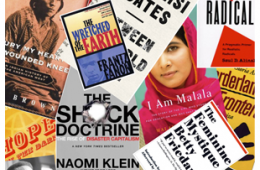 Collage of books with Between the World & Me, Feminine Mystique, Handmaid's Tale, People's History of the United States & more