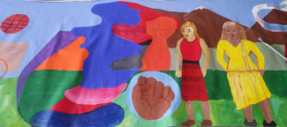 Banner detail including abstract shapes, black power fist, two women all brightly colored.