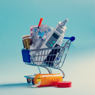 Shopping cart containing medical supplies.