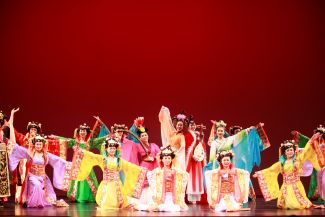 photo of brightly clad dancers; used by permission of Ah-Lan Dance
