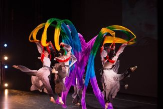 photo of dancers with colorful scarves; used by permission of Ah-Lan Dance