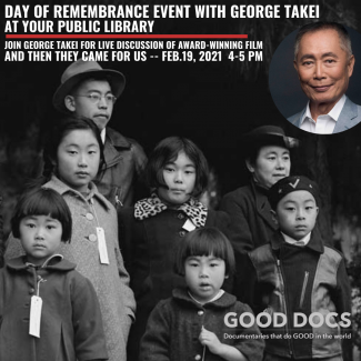 Black and white picture of children of various ages from film and picture of George Takei.