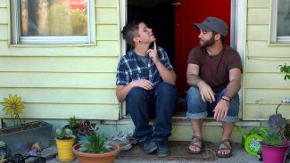 Bennet and Joe on porch