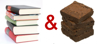 A stack of books, an ampersand, and a stack of brownies