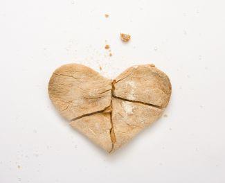 Un-iced broken heart-shaped cookie