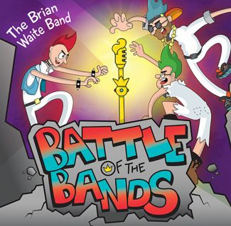 "cartoon drawing of band members reaching for a microphone. Text says ""Brian Waite Band: Battle of the Bands"""