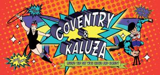 cartoon of Coventry and Kaluza with a superhero theme