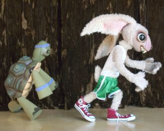 photo of tortoise and the hare marionettes; courtesy of Fratello Marionettes