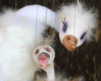 photo of swan mother and baby marionettes; courtesy of Fratello Marionettes