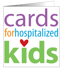 "Illustration of a greeting card that says ""cards for hospitalized kids"" in many colors on the front (organization's logo)"