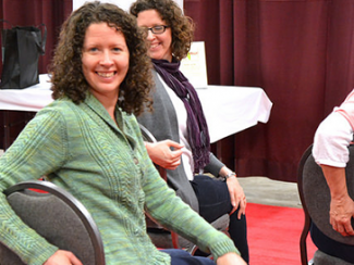 Chair yoga at the Knitters' Spa CC K-W Knitters Guild https://www.flickr.com/photos/kwkg/15051705367/in/photolist-oW4VBv-9k81wh-