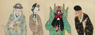 Drawing of 4 characters in Chinese opera play.