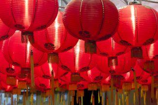 many red lanterns hanging down