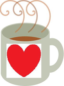 Drawing of hot mug of coffee with heart design on front.