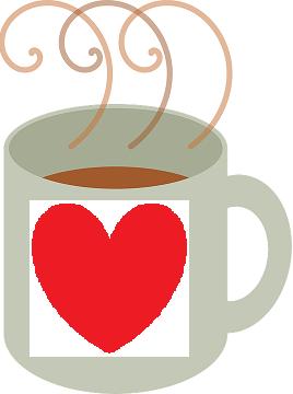 Drawing of coffee mug with heart.