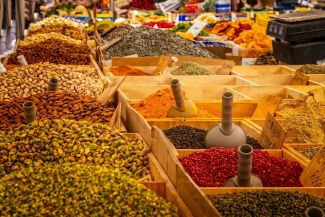 Photograph: Bulk spices in bins.